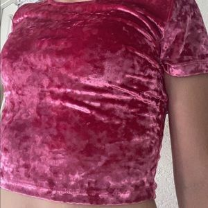 Fuschia velvet cropped top